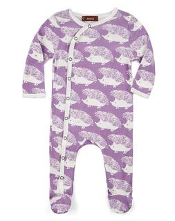 Milkbarn Infant Baby Footed Romper Lavender Hedgehog 12-18 M