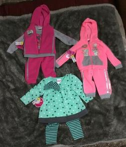 Infant Baby Girl 12 Months 3 Sets  Fall/Winter 7 Pieces New