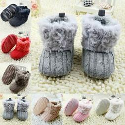 Infant Baby Girl Winter Cotton Knit Fleece Snow Boots Warm F