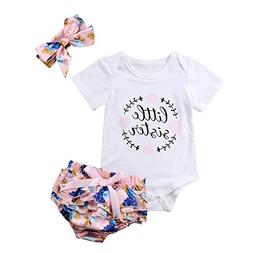 Infant Baby Girls Floral Outfit Set Blessed Print Romper Flo