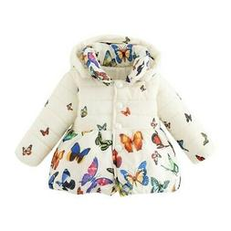 Infant Baby Girls Winter Butterfly Coat Kids Cotton Soft Jac