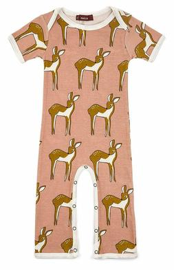 Milkbarn Infant Baby Romper Rose Doe Deer Short Sleeve Pink