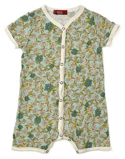 Milkbarn Infant Baby Shortall Blue Floral 12-18 Months Organ