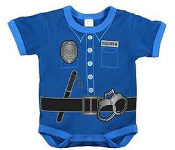 Infant Baby One Piece Bodysuit Police Uniform Shirt Blue Rot