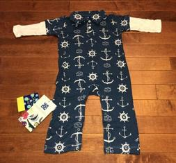 Kickee Pants Infant Boy Twilight Anchor Long Sleeve Polo Rom