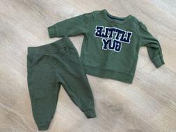 infant boys green two piece sweatsuit outfit 12 months Littl