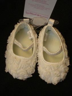 Stepping Stones Infant Girl Shoes White Rosette Flowers New