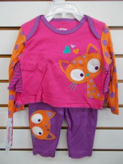 Infant Girls Nuby 2pc Multi-Colred Cat Outfit Size 12 Months