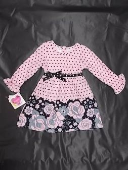 Infant Girls Youngland Baby Pink & Black Dress Size 12 Month