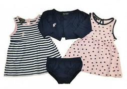 US Polo Assn Infant Girls Pink & Navy Dress Set  Size 12M 18
