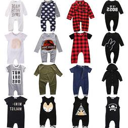 Infant Newborn Baby Boy Girl Long Jumpsuit Romper Bodysuit C