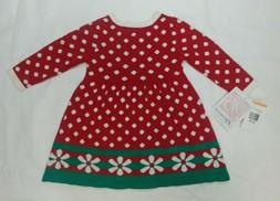 Bonnie Baby Infant Sweater Dress Red Polka Dots 12 months Ch