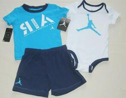 jordan baby boys blue bodysuit shirt shorts