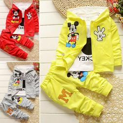 Kids Baby Boy Girl Mickey Mouse Hoodie Coat + Shirt + Pants