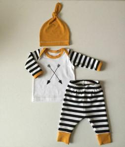 Kids Baby Girl Boy Clothes Arrows Tops T-shirt+Striped Pants