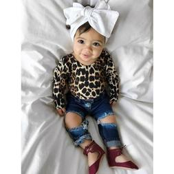Kids Baby Girl Leopard Outfits Long Sleeve Tops+Ripped Denim