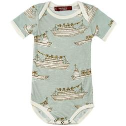 Milkbarn Kids Baby Ships Bamboo Short Sleeve One Piece