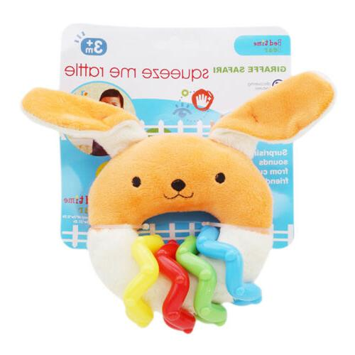 0-12-months Newborn Baby Teething Plush Rattle Teether Ring