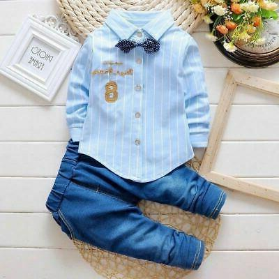 1 Baby kids boys suit top+pants set