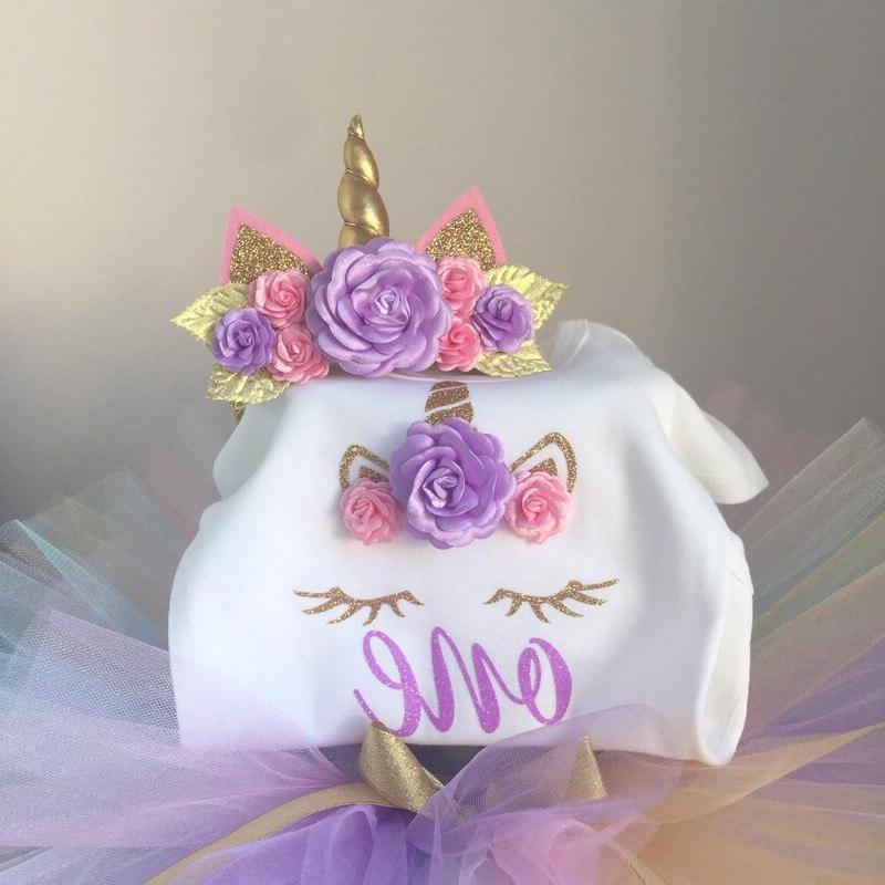 1 Year Baby Girl Christening Unicorn Party <font><b>12</b></font> <font><b>Months</b></font> Toddlers 1st Clothes Sets