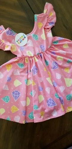 Dot dot smile 12-24 months Empire Dress, Pink With Diamons,