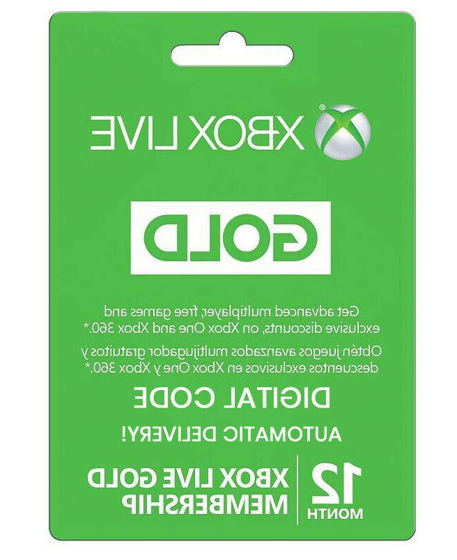 12 Month Xbox Live GOLD Membership Card XBOX LIVE GLOBAL-Dig
