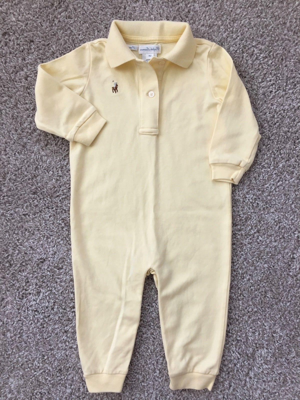 12 Months Ralph Lauren Baby Boy Girl Yellow Coverall Bodysui
