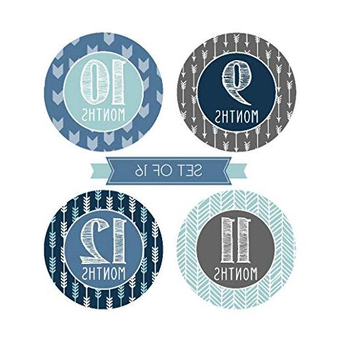 16 Boy Stickers, Monthly For New Born 1st Birth Month Belly Scrapbook Memory Registry Gift, Best