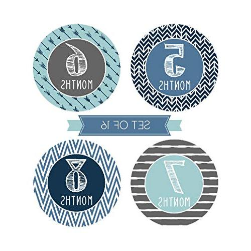 16 Blue Teal Baby Boy Monthly Photo Picture Props For Infant New Born Year Birth Scrapbook Best