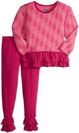 KICKEE PANTS 2 PC INFANT GIRL L/S WINTER ROSE WATERFALL DOUB