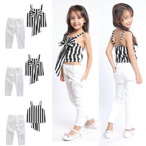 Emmababy 2PCS Toddler Baby Girl Clothes Outfits T-shirt Tops