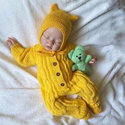 2PCS Baby Girl Boy Sweater Jumpsuit+Hat Outfit Set