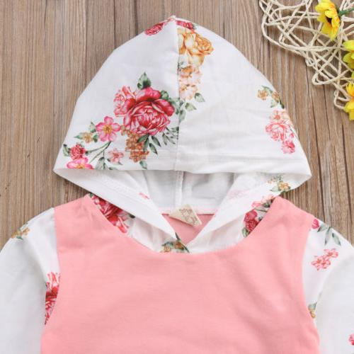 2PCS Baby Infant Clothes Hooded Tops Leggings Tracksuit