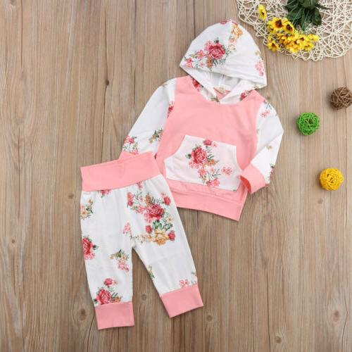 2PCS Newborn Girls Infant Clothes Hooded Tops Leggings