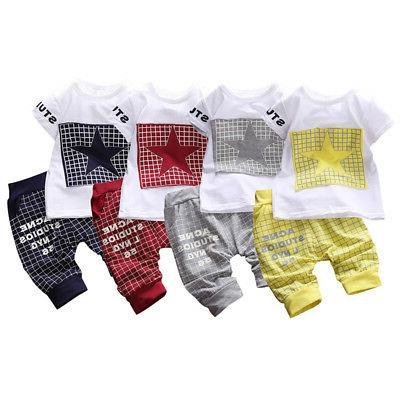 2PCS Summer Toddler Kids Boys Printed T-shirt Outfits