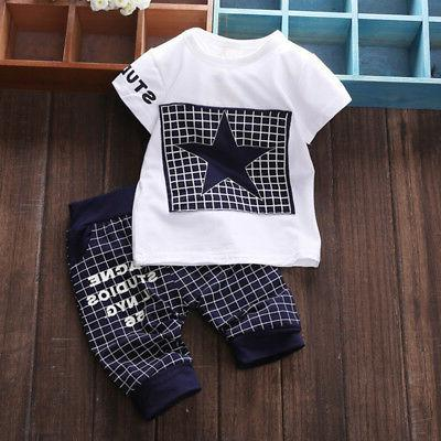 2PCS Kids Printed T-shirt + Pants Outfits