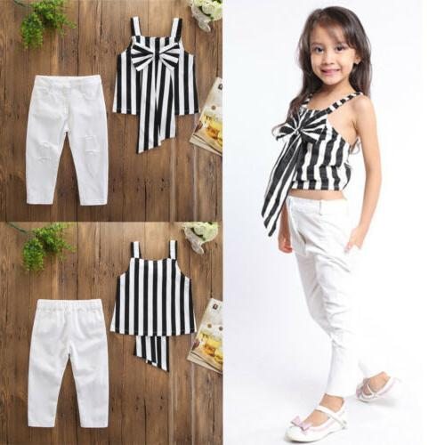 Emmababy 2PCS Kid Baby Girl Stripe Tops Pants Trousers Outfi