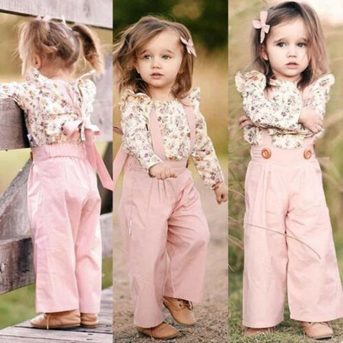 2PCS Toddler Kids Baby Girl Winter Clothes Floral Tops+Pants