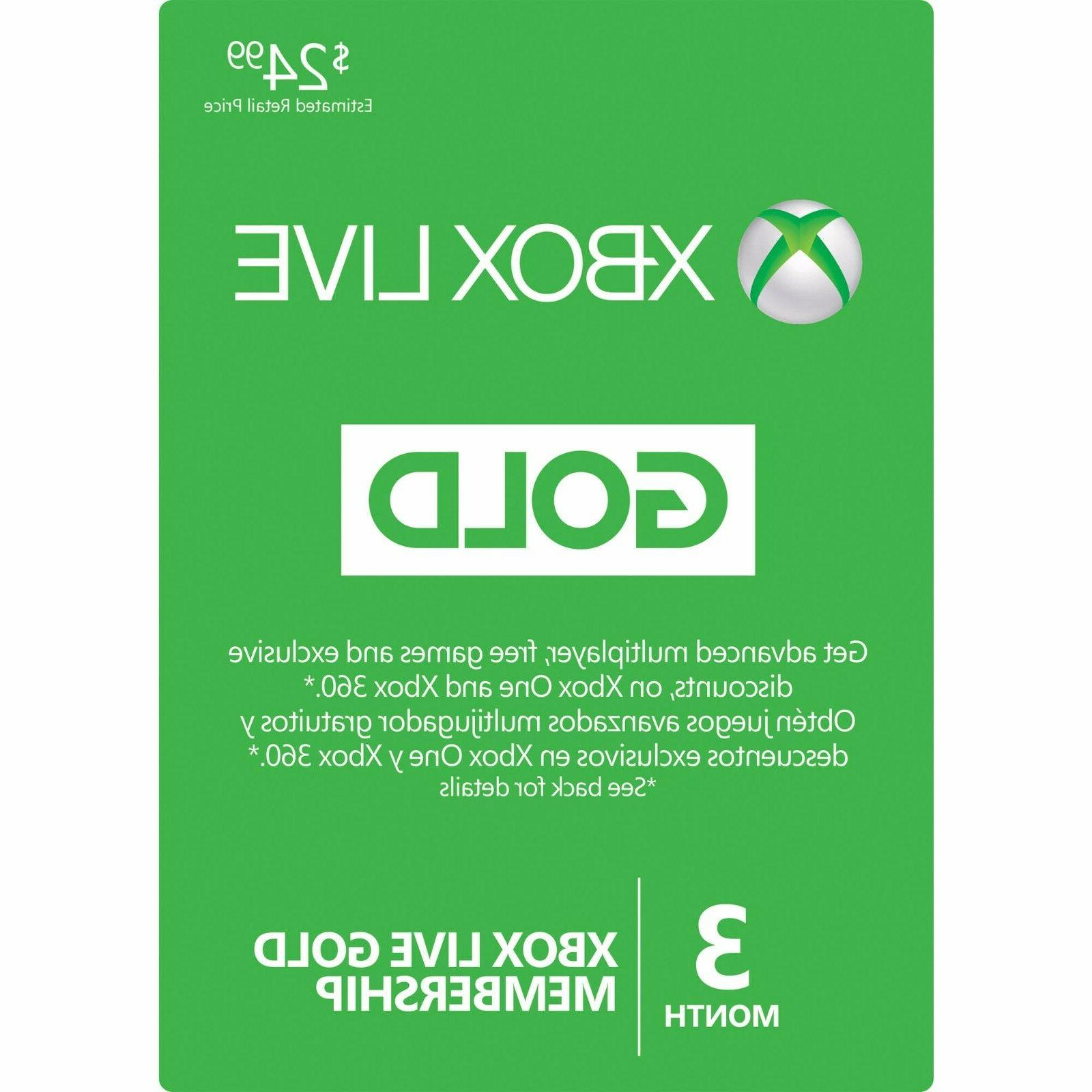 Microsoft 3 Month Xbox Live Gold Membership Subscription Qui