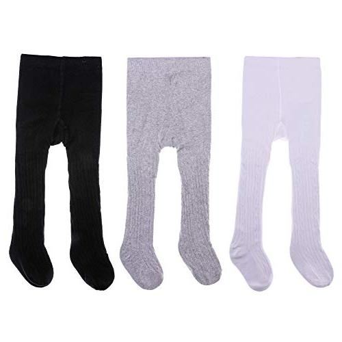 3 pack baby girls tights seamless cable