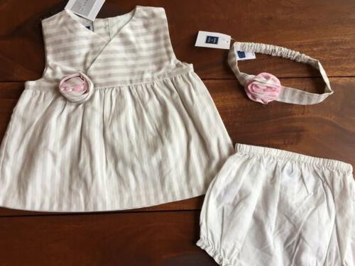 Janie and 3 Piece Set Size 6-12 Months Pink Striped