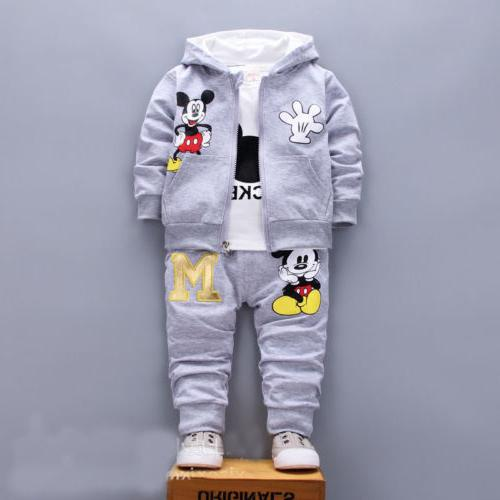 3pcs Baby boys coat+T tracksuit set