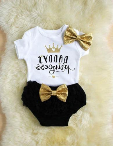 3PCS Outfit Clothes Tops Romper+Tutu Shorts Pants Stock