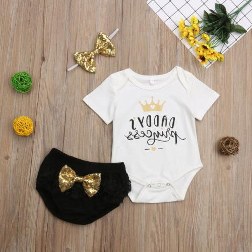 3PCS Newborn Girl Outfit Tops Shorts US Stock