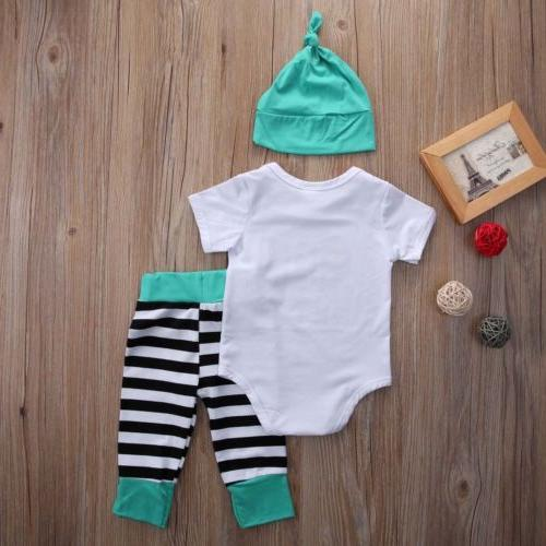 3pcs Girl Boy Newborn Hat+Top+Pants Clothes Outfit Ropa Bebe