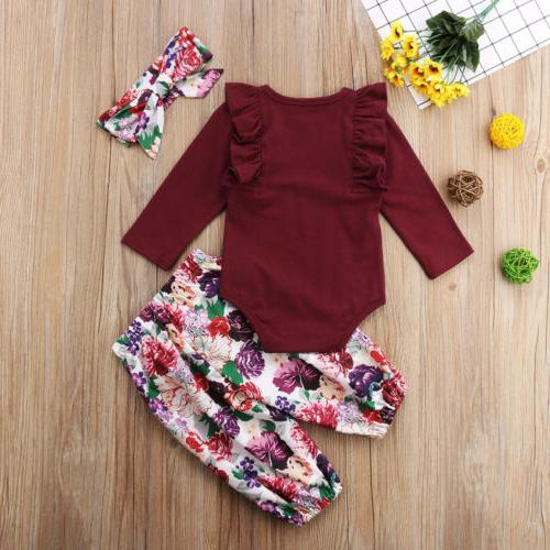 US Stock Newborn Girls Romper Pants Outfits Set Clothes 0-18M