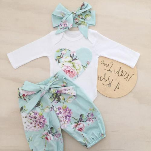 3pcs newborn kid baby girl floral clothes
