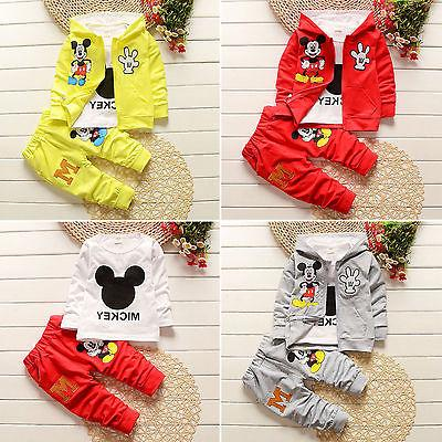 Kids Boy Girl Mickey Mouse Hoodie Coat Shirt Pants Child War