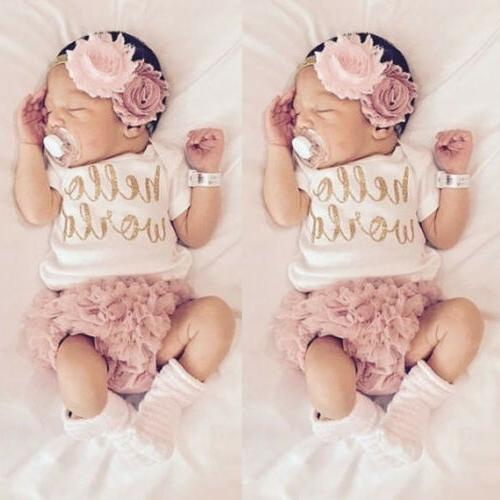 4PCS Newborn Baby Girl Bodysuit+Tutu Pants Dress