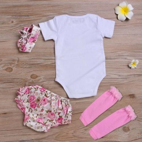 4PCS Newborn Kids Baby Girl Clothes